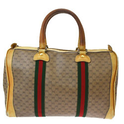 Auth Gucci Sherry Line Micro GG Pattern PVCLeather Handbag Brown 07GC916 $138.00