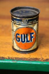 Vintage Gulf Wheel Bearing Grease Tin Can Oil Gas 1 Pound Gas Station With Lid