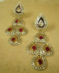 New Ruby, Polki 18k Gold And Silver Victorian Earring