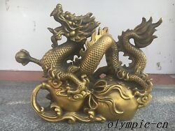 20and039and039 Classical Brass Sculpture Home Fengshui Chinese Dragon On Gourd Statue