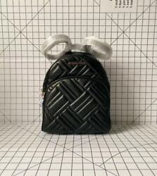 Michael Kors Abbey Medium Quilted Backpack Leather Bag in Black Gold $118.90