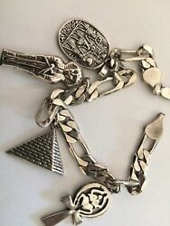 New Sterling Silver Egyptian Charm Bracelet 925  9 Inches