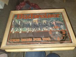 Vtg Budweiser Clydesdale This Buds For You Clock Mirror Sign Wood Frame Great