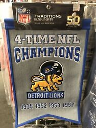 Detroit Lions Champs 14x22 Embroidered Wool Stadium Banner Flag Pennant 1957