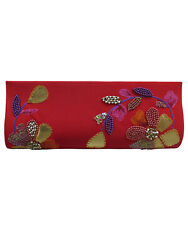Women Hand Embroidered Beaded Red Clutch Satin Party Evening Bag Purse Handbag $22.99