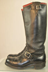 Rare Vintage Chippewa Raspberry Top Engineer Boots 17 Inch Size 8 1/2 D Black