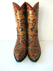 Liberty Boot Menand039s Size 11.5d Leather Western Cowboy Boots Tooled Skulls Brown