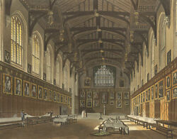 Interior Of Christchurch Hall, Oxford – Early C19th Hand-coloured Engraving