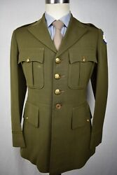 1930's Us Army Solid Olive Green Wool Four Button Dress Uniform Coat Size 36s