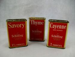 Set Of 3 Vintage Red Schilling Savory Thyme Cayenne Spice Tins Copyright 1933