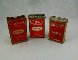 Set Of 3 Vintage Red Schilling Cloves Turmeric Whole Cloves Spice Tins