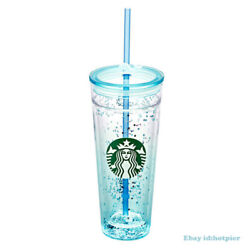 Starbucks 2020 Whale Sequin Straw Cup Blue Shades Double-deck Glass 20oz Rare