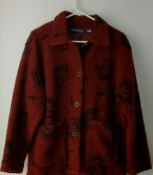 Friday Harbor Usa Soft Red/black Sherpa Coat Women's Size Small- Free Shipping