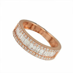 Pave Natural Baguette 1.22ct Diamond Band Ring Solid 18k Rose Gold Fine Jewelry