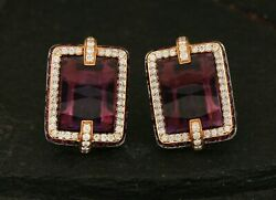 20x14mm Solid 18k Yellow Gold 16.12ct Amethyst 0.67ct Pave Diamond Stud Earrings