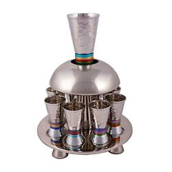 Yair Emanuel Wine Fountain Hammered Nickel Cone Shaped Cups Decorated With Color
