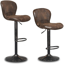 Vintage Bar Stool, Set Of 2 Armless Hydraulic Lift, Adjustable Seat Height With