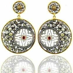 17ct Color Diamond Pave 925 Silver Mop Dangle Earrings 14k Gold Handmade Jewelry