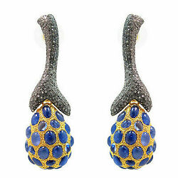 Blue Sapphire Pave Diamond Dangle Earrings Vintage Style Sterling Silver Jewelry
