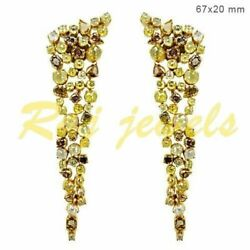 Natural Color 14.6ct Diamond Dangle Earrings Solid 14k Gold Vintage Look Jewelry