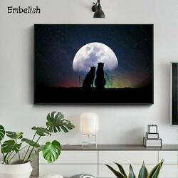 Wolf Enjoying The Moon Animals Wall Pictures For Living Room Canvas Paintings Ho