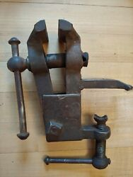Antique Small Hand Forged Blacksmith Bench Vise
