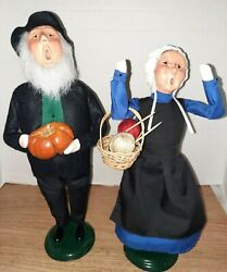 Byers Choice 2004 Amish Man W/ Pumpkin And Woman W/knitting Basket Signed By Joyce
