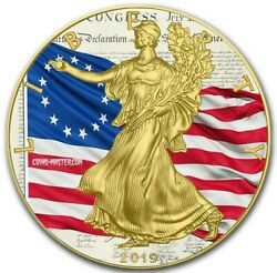 2019 1 Oz Silver 1 Betsy Ross Flag Eagle Coin, Nike With 24k Gold Gilded.