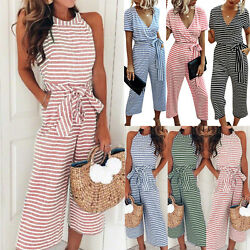 Women Summer Beach Striped Long Wide Leg Pants Jumpsuit Playsuit Casual Rompers $22.70