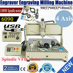 Usb 4 Axis 1.5kw Cnc 6090 Router Engraving Machine Wood Metal Steel Mill/cutting