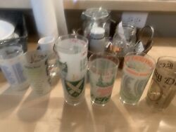 Kentucky Derby Glasses, Lot Of 44 Glasses Rare Mint Julep Horse Racing Glass Lot