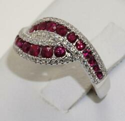 18carat 18 K White Gold Ruby And Diamond Crossover Ring 0.34ct Size Uk-n Us-6 1/2