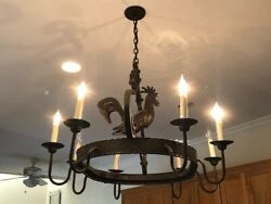 Wrought Iron Rustic Rooster Chandelier