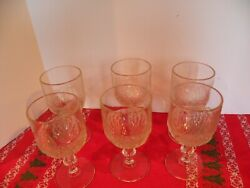 Antique 1881 Duncan And Miller Pressed Glass Shell And Tassel Water Goblets Six