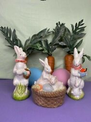 Easter Bunny Chalkware Trio W/giant Carrots And Painted Deco Eggs