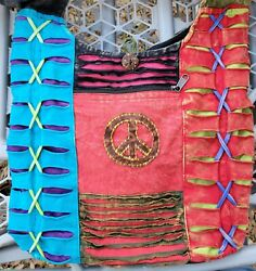 INDIA boutique Hobo Cross Chest Zippered Bag PEACE Purse ☮ $24.99