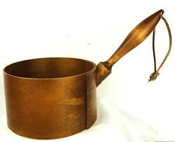 Shaker-style Bentwood Wooden Pantry 22 Dia. Bowl Dipper W/ Handle Vintage Euc