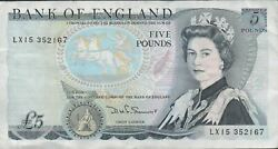 Great Britain 5 Pounds Nd. 1980and039s P 379c Prefix Lx15 Circulated Banknote