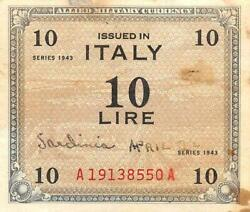 Italy 10 Lire Series Of 1943 A Block Aa Wwii Issue Circulated Banknote E22s