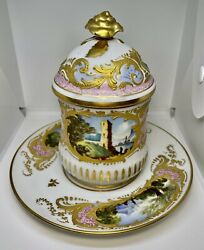 Rare Antique Sevres Porcelain Hand-painted Covered Cup And Saucer