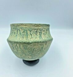 Old Antique Bronze Bowl Engraved With Figures From Ancient Steppe Cultures