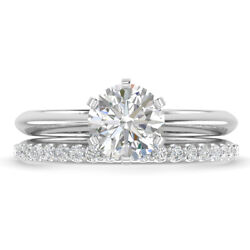 1.31ct D-si1 Diamond Knife-edge Engagement Ring 14k White Gold Any Size