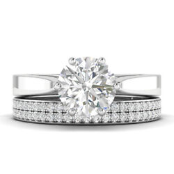1.3ct E-vs2 Diamond Cathedral Engagement Ring 14k White Gold Any Size