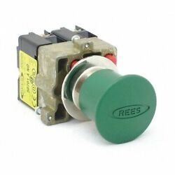 Rees 22102303 Push Button W/2 No,22mm,momentary,green