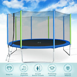 14ft Premium Trampoline With Enclosure Safety Net Adult/kid Outdoors Trampolines