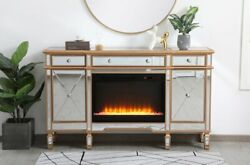 Mirrored Tv Stand Crystal Fireplace Insert Combo Cabinet Antique Gold 60 X 36