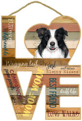 Border Collie Love Wood Cut Out 8quot; x 11quot; Nice Hanging Dog Sign Gift Home NEW L74