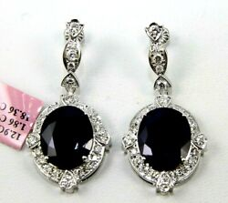 Natural Oval Blue Sapphire And Diamond Drop Snap Earrings 14k White Gold 20.22ct