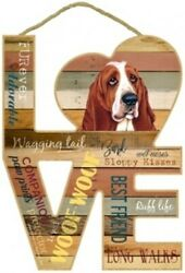 Basset Hound Love Wood Cut Out Word Art 8x11 Hanging Dog Sign Gift Home NEW L77
