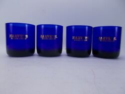 Harveyand039s Bristol Cream Cobalt Blue With Gold Lettering Whiskey Drinking Glasses
